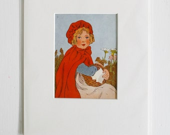 Vintage Little Red Riding Hood Book Art Print, Archival Mat and ready for an 8x10 Frame