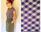 70s SOFT Plaid TShirt XS-M, Short Sleeve Shirt, Womens Small Stretchy Tee, Purple, Retro, Tartan Shirt, Crop Top, Seventies T Shirt, Vintage
