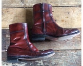 60s Florsheim Whiskey Ankle Boots Leather Mod Beatle Boot Zip Up Motorcycle Boots Mens Size 8 /Euro 41 Womens Size 9.5 / Euro 39-40 Uk