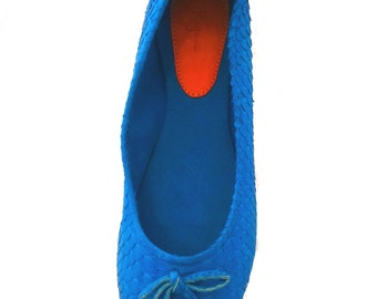 TURQUOISE python ballet flats