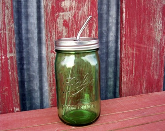 Quart Mason Jar Green & Stainless Steel Straw | 1 Drinking Jar  | Wide Mouth | To Go Mason Drinking Glass | Ball Jar | Stainless Steel Straw