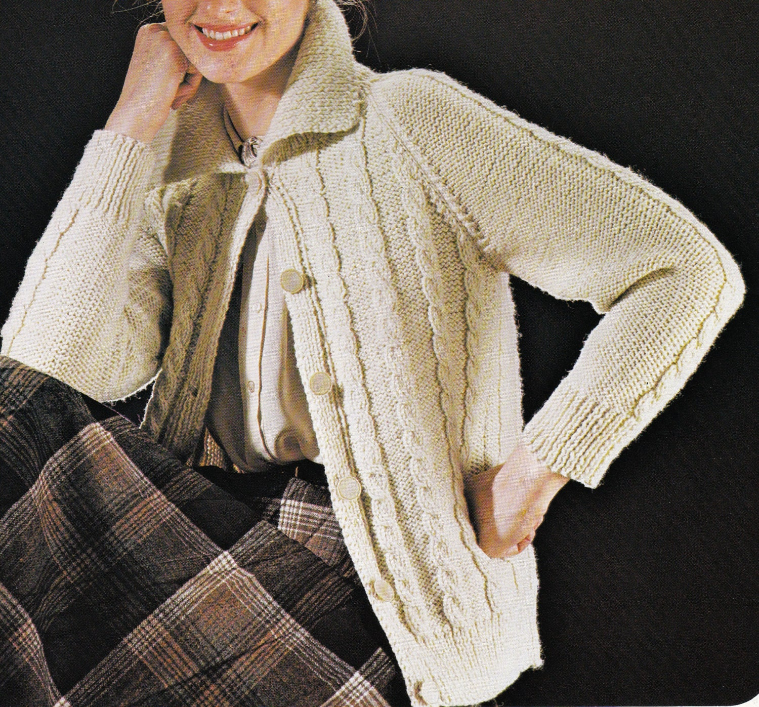 Vintage Aran Cardigan Knitting Pattern : Vintage Knitting Pattern Instructions for by LucysPatternBox