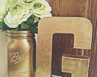Metallic Gold Letter - Gold Number - Wedding Table Letters - Stand Alone Giant Letter - Wedding Decor - Birthday Decor - Desk Decor