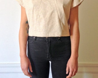 Linen Triangle Crop Blouse