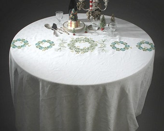 Large Holidays, Christmas white damask embroidered tablecloth,  upcycled with green pine wreaths, gold dots. Unique OOAK
