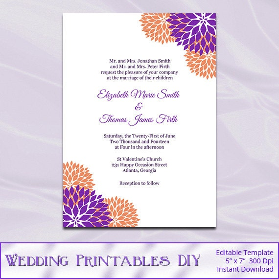 Items Similar To Purple And Orange Wedding Invitation Template Diy Printable Garden Floral