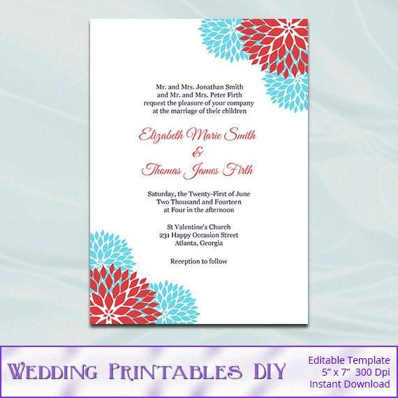 Aqua Blue And Red Wedding Invitation By WeddingPrintablesDiy