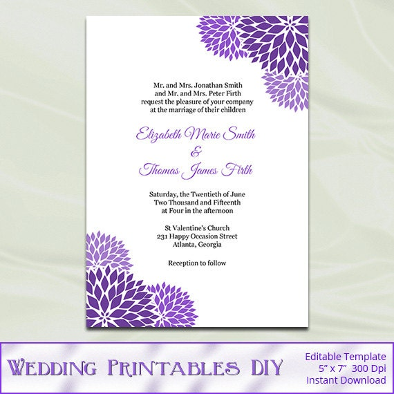 Purple Wedding Invitation Template Diy Printable Garden