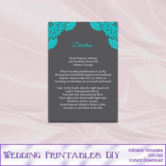 Teal Gray Wedding Invitation Inserts By WeddingPrintablesDiy