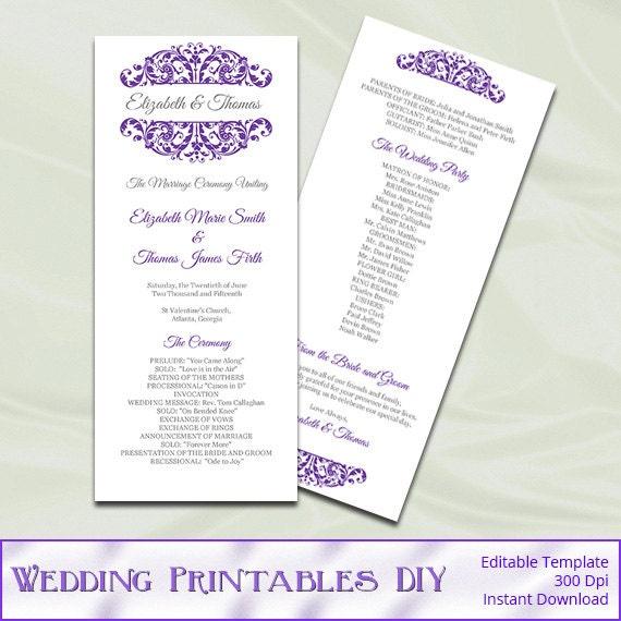 Purple Wedding Program Template Diy by WeddingPrintablesDiy