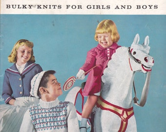 Vintage Knitting 1958 Bernat Bulky Knits for Girls Boys Toddlers 44 Page Book #66 GC