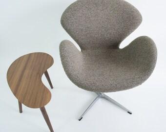 Mid-Century Modern Side Table - Walnut Kidney Bean - Mini Version