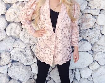 Vintage 80s Peach Colored Lace Oversized Blazer Style Jacket M // L