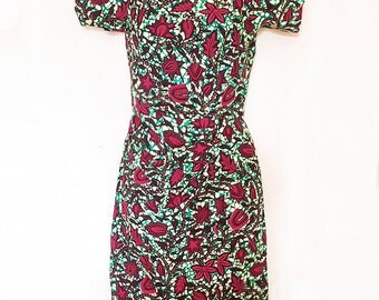Handmade Pink & Green Retro Style African Leaf Print Dress