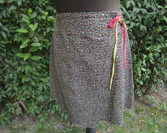 cotton print summer skirt, wrap skirt of mille-fleur Gr. 36-38, unique, handmade by himmeldurchnadeloehr