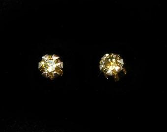 Canary Yellow Diamond Stud Earrings, 2mm, 14k YG
