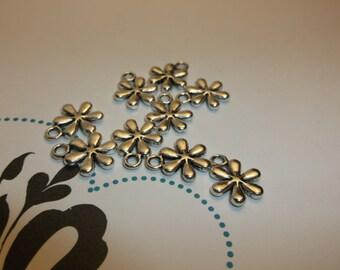 flower tibetan silver charm necklace bracelet earrings qty 10