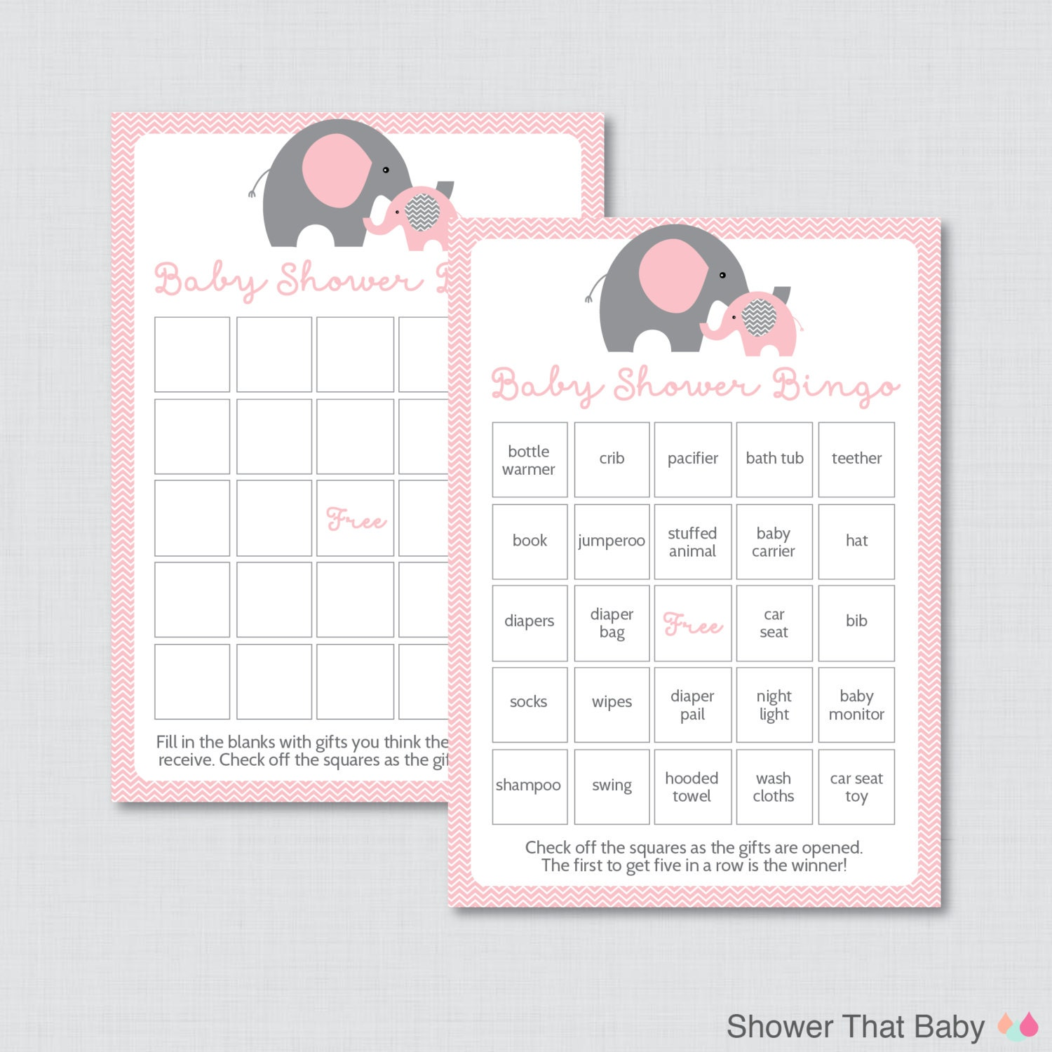 elephant baby shower bingo cards prefilled bingo cards and