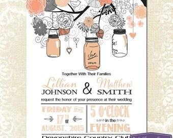 Mason Jar Wedding Invitation - Coral Gray Mason Jar Wedding Invite - Rustic Barn Vintage Wedding Invitation - 6112 PRINTABLE