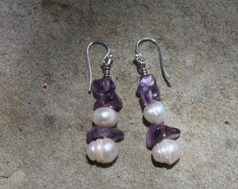 Handmade Amethyst and Pearl Earrings