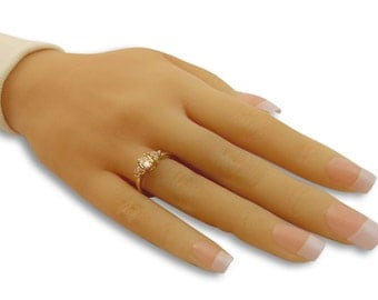 GOLD Filled Ring 14K swarovski crystal ,thin gold ring gifts for women white crystal cz ring