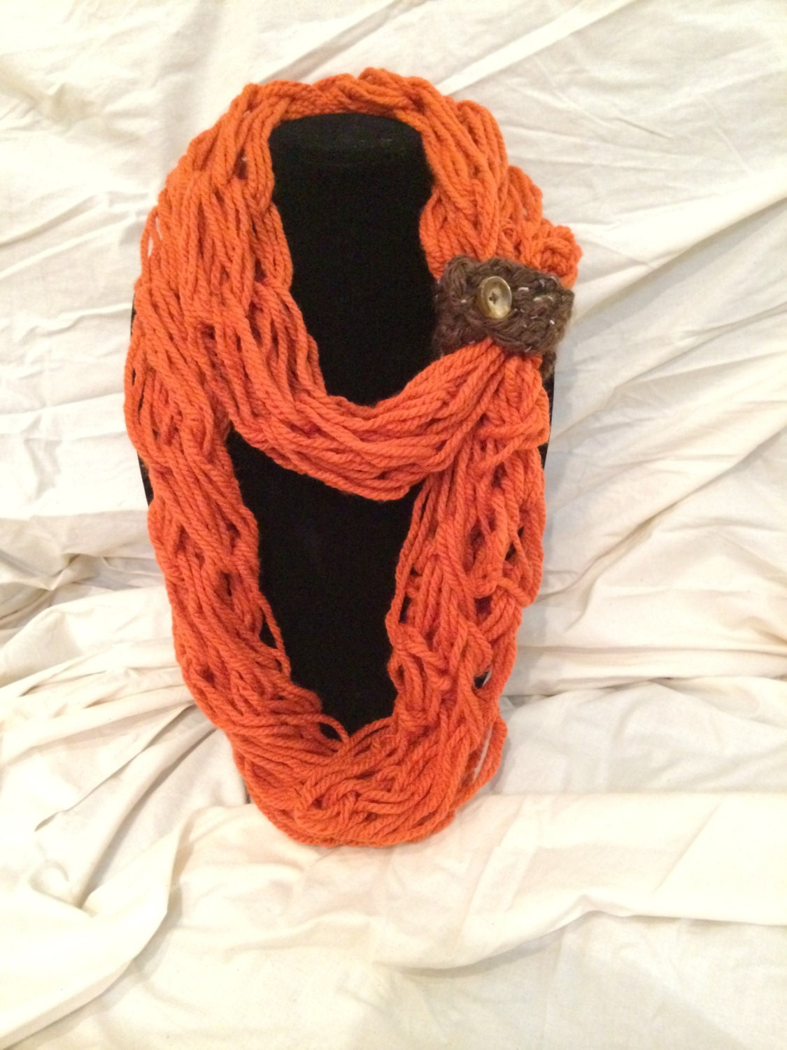 Knitting With Arms Scarf : Orange arm knit scarf by alliescraft on etsy