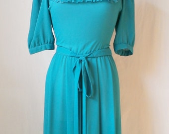 Vintage Summer Dress  Teal Dress Collar