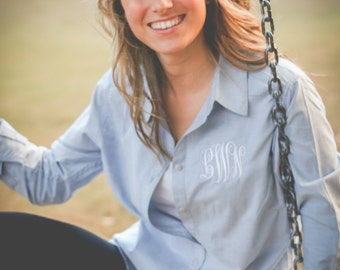 Monogrammed Chambray Button Up Women's Shirt