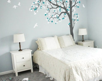 Large Baby nursery Tree vinyl wall decal, removable tree sticker with birds -NT023