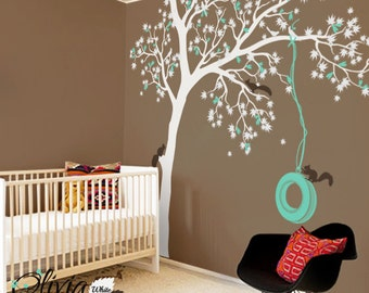Maple Tree with Flowers Vinyl Wall Decal - NT016