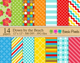 Down by the Beach Digital Papers - Patterns - Backgrounds - Personal and commercial use
