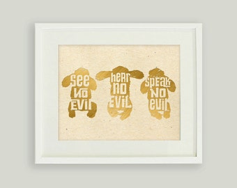 See No Evil Hear No Evil Speak No Evil • Three Wise Monkeys Printable • Faux Gold Foil Print• 8x10