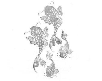 Koi Fish Set Rubber Stamp   021116