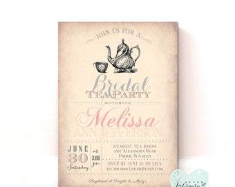 Bridal Shower Invitation - Bridal Tea Party Invitation - Vintage Peach Floral Typography Vinatge - Printable Invitation -   No.31