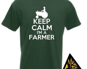 Keep Calm I'm A Farmer T-Shirt Joke Funny Tshirt Tee Shirt Gift Farm Tractor