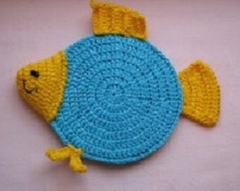 Free Crochet Fish Coaster Pattern : Crochet fish coaster Etsy