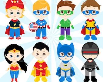 Superhero Digital Clipart, Superhero Clipart, Superhero Clip Art