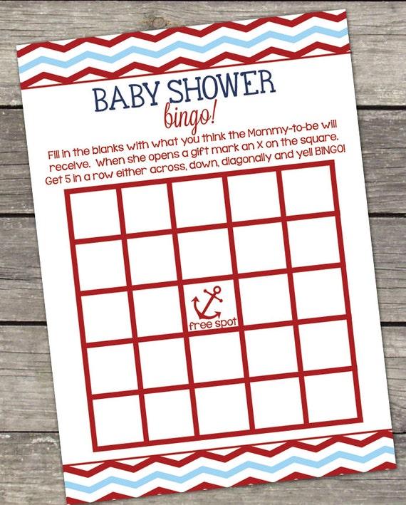 printable nautical baby shower bingo card game 5x7 nautical