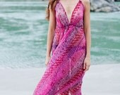 Burning Man Pink and Purple Flower Maxi Dress in Chiffon