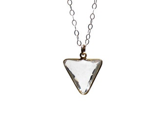 Crystal Triangle Geometric Necklace, Gold