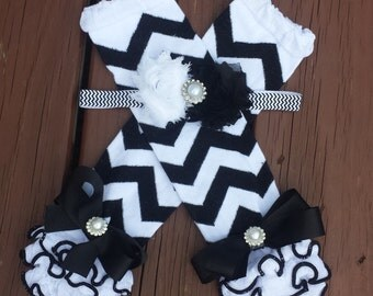 White and Black Chevron Headband and Legwarmer Set, chevron headband, chevron legwarmers, baby girl, toddler, photo prop, girls, tutus, sets