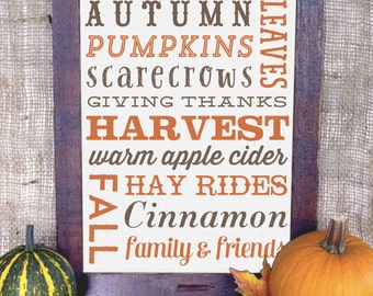 Fall Word Art Decoration - Customizable - Autumn Subway Art Decor - 8x10 - JPG, EPS, PDF Instant Download - Autumn Words - Fall Decorations