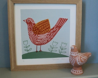 Terracotta Bird. Original Screen Print