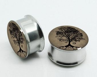 Tree of Life Ear Gauges- Steel Ear Gauges-Ear Plugs-Screw flesh tunnels,Pairs Plugs