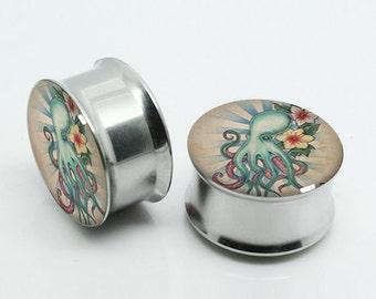 Octopus Gauges-  Vintage Steel Ear Gauges-Ear Plugs-Screw flesh tunnels,Pairs Plugs