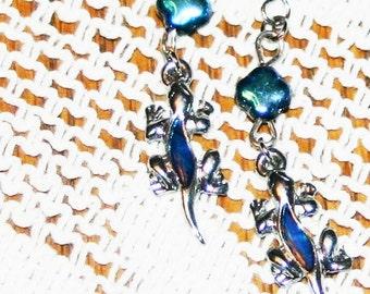 Genuine Blue Jeans Blue Paua Shell Gecko Lizard  Dangle Silver Tone Earrings