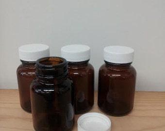 Amber Jar With Lid - 2oz - Six Jars