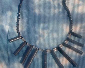 17 inch Hematite Barrel Necklace