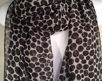Scarf Deville Dalmatian Black White Water Dotted Wrap Scarf