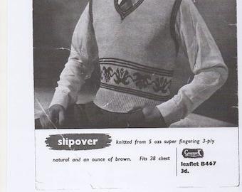 Mens Knitted Pullover, Mens Slipover, Mens Knitting Pattern, Mens Pullover Pattern. Knitting Pattern Only.